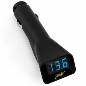 USB зарядное устройство в прикуриватель c вольтметром, Stinger SGP12